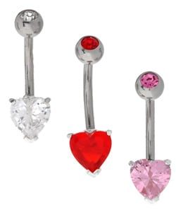 CGC Silver & Crystal Jeweled Heart Curved Barbell