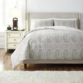 Signature Design by Ashley Grey 3-piece Paisley Print Duvet Cover Set