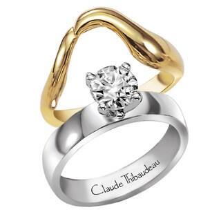 Claude Thibaudeau 18k White Gold Diamond Semi Mount Solitaire Engagement Set