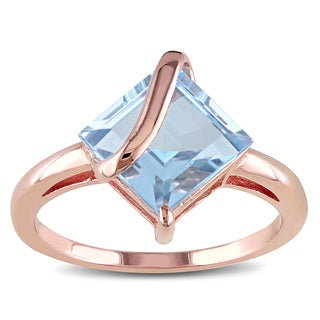 Miadora Rose-plated Silver Blue Topaz Solitaire Ring
