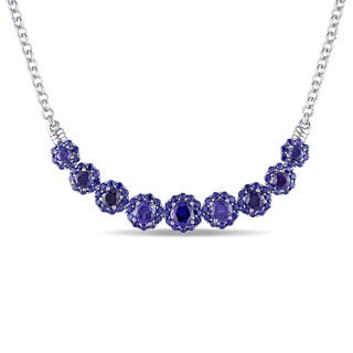 Miadora Sterling Silver Created Blue Sapphire Necklace