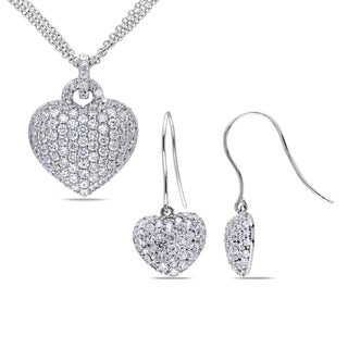 Miadora Sterling Sillver Created White Sapphire Heart Necklace and Earrings Set