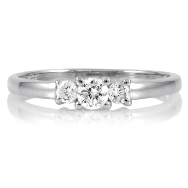 Sterling Silver Petite Cubic Zirconia 3-stone Ring