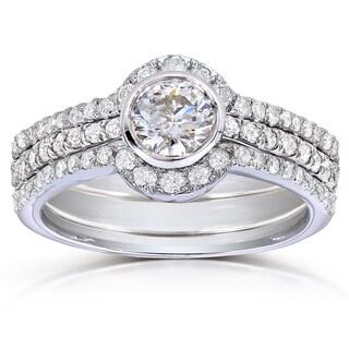 Annello 14k White Gold 1 1/10ct TDW Round-cut Diamond 3-piece Bridal Set (H-I, I1-I2)