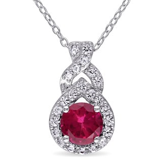 Miadora Sterling Silver Created Ruby and Created White Sapphire Halo Drop Necklace
