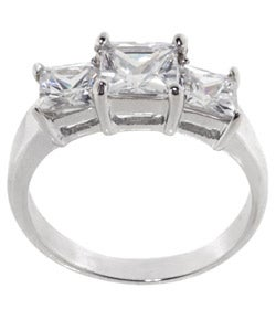 Tressa Collection Sterling Silver Princess Bridal & Engagement CZ Ring