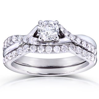Annello 14k White Gold 3/4ct TDW Round-cut Diamond Bridal Set (H-I, I1-I2)