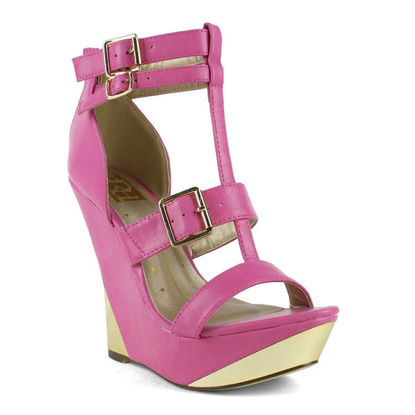 Fahrenheit Women's Linda-02 Multi Buckle Wedge Sandal