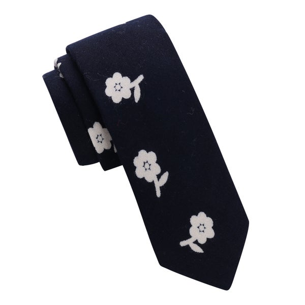 Skinny Tie Madness Men's Flowers of Rage Navy Floral Print Skinny Tie