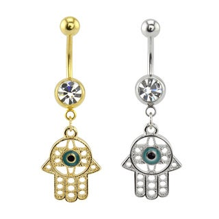Supreme Jewelry Gold and Silver Hamsa Belly Ring (2-pack)