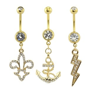 Supreme Jewelry Gold Anchor/ Lightning Bolt/ Fleur De Lis Belly Ring Variety Pack (3-pack)
