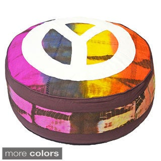 Tie-dye and Peace Sign Cotton Pouf (India)