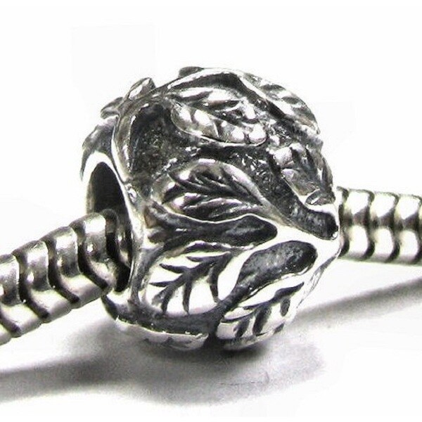 Queenberry Sterling Silver Leaf Tree Life European Bead Charm
