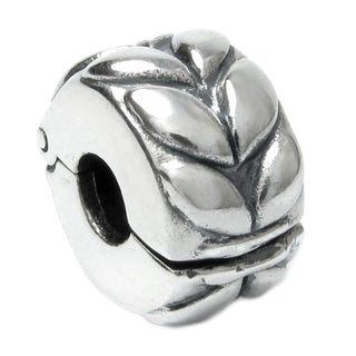 Queenberry Sterling Silver Round Leaf European Bead Charm