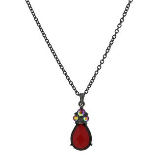 1928 Jewelry Dramatic Black-tone Metal Red Stone and Red AB Crystal Necklace