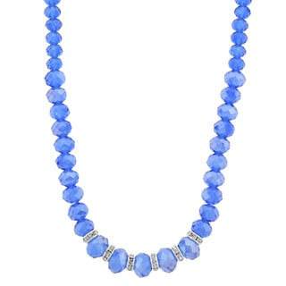 1928 Jewelry Silvertone Sparkling Blue AB Crystal Bead Necklace