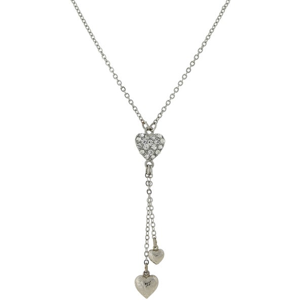1928 Jewelry Silvertone Crystal Tassel Drop Heart Y-Necklace