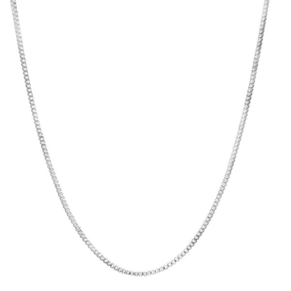 Sterling Silver Box Chain Necklace 18 inch long 0.50 mm thickness Rhodium Plated Spring Ring Clasp