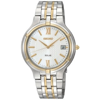 Seiko Men's SNE066 Stainless Steel Two-tone Solar Watch