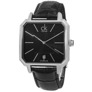 Calvin Klein Men's K1U21107 'Concept' Black Dial Black Leather Strap Quartz Watch