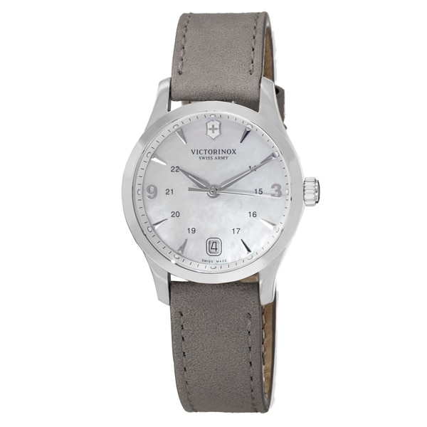 Swiss Army Women's V241662 'Alliance' Mother of Pearl Dial Grey Leather Strap Swiss Quartz Watch
