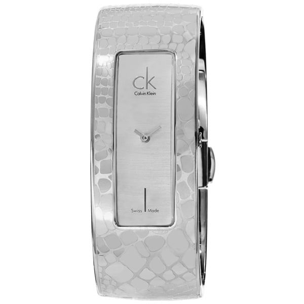 Calvin Klein Women's K2024120 'Instinctive' Silver Dial Stainless Steel Bangle Swiss Quartz Small Watch 15180736