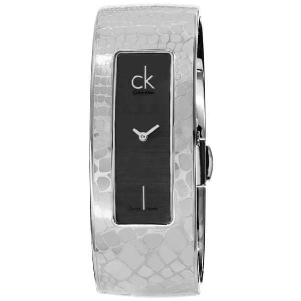 Calvin Klein Women's K2024107 'Instinctive' Black Dial Stainless Steel Bangle Quartz Small Watch 15180737