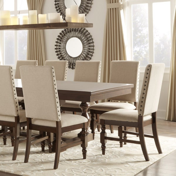 TRIBECCA HOME Flatiron Nailhead Upholstered Dining Chairs