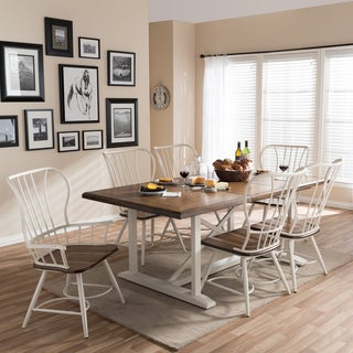 Longford Wood and Metal Vintage Industrial 7-Piece Dining Set-White