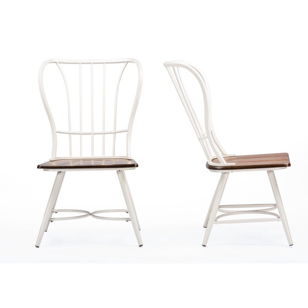 set of 2 longford wood and metal vintage industrial dining chair white