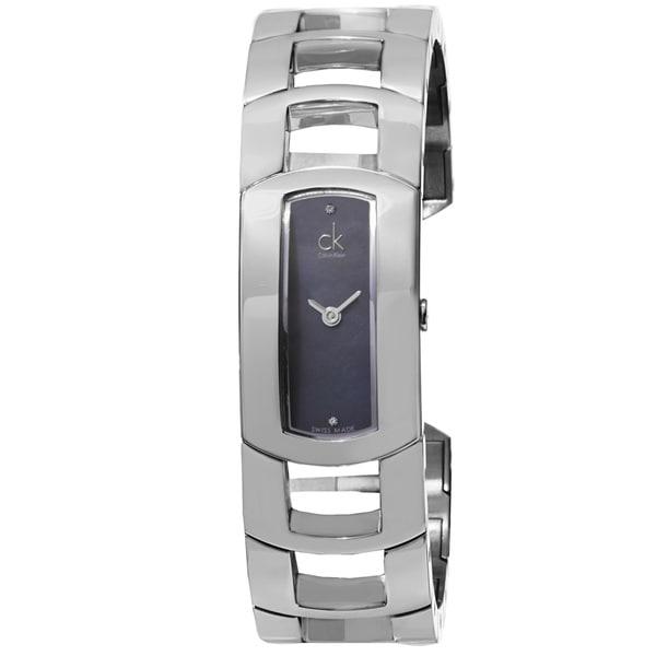 Calvin Klein Women's K3Y2S11S 'Dress' Black Mother of Pearl Diamond Dial Stainless Steel Bangle Quartz Watch