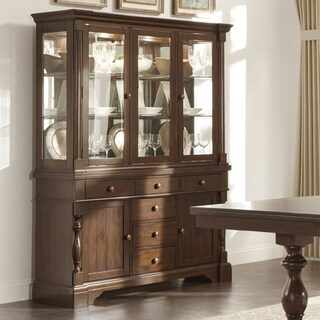 TRIBECCA HOME Flatiron Display Mirrored-back Buffet Storage China Cabinet