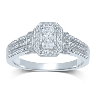 14k White Gold 3/8ct TDW Emerald-cut Diamond Engagement Ring (G-H, SI3)