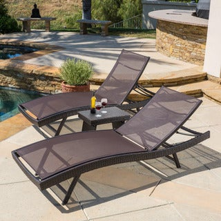 Christopher Knight Home Kauai Outdoor 3-piece Adjustable Chaise Lounge Set