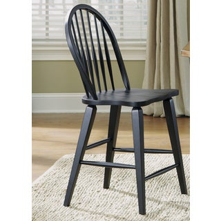 Traditional Rustic Black Windsor Back Counter Barstool