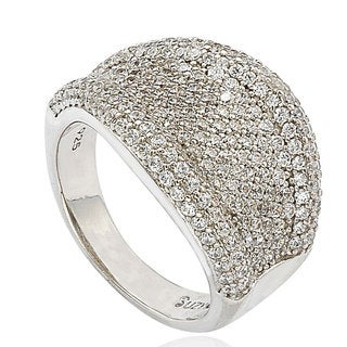 Suzy Levian Sterling Silver Cubic Zirconia Micro Pave Wide Band Ring