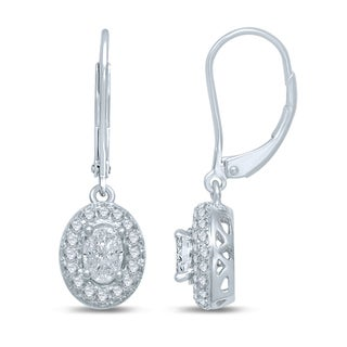 14k White Gold 4/5ct TDW Oval Dangle Earrings (G-H, SI3)