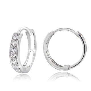 ICZ Stonez Sterling Silver Cubic Zirconia Mini Hoop Earrings
