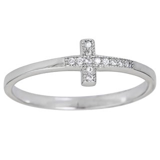 Sterling Silver Micropave Sideway Cross Ring with Cubic Zirconia