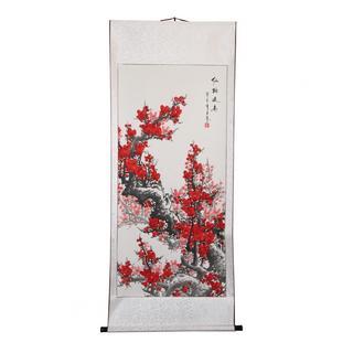 Handpainted Red Plum Blossom Chinese Scroll (China)