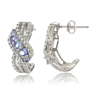 Glitzy Rocks Sterling Silver Diamond Accent Tanzanite J-Style Earrings