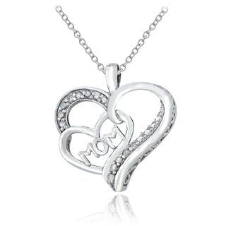 DB Designs Sterling Silver 1/8ct TDW Diamond 'Mom' Heart Necklace (I-J, I2-I3)