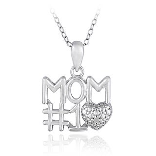 DB Designs Sterling Silver 1/8ct TDW Diamond 'Number 1 Mom' Necklace (I-J, I2-I3)