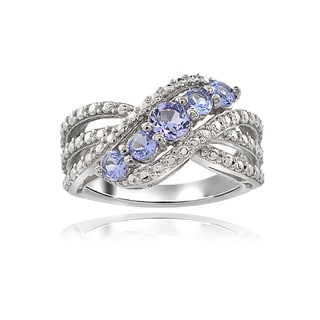 Glitzy Rocks Sterling Silver Diamond Accent Tanzanite Swirl Ring