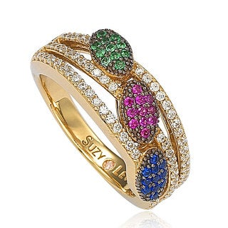 Suzy Levian Goldplated Sterling Silver Blue Red and Green Pave-set Cubic Zirconia Ring