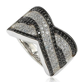Suzy Levian Sterling Silver Black and White Cubic Zirconia Pave Ring