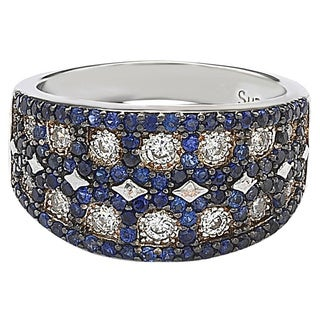 Suzy Levian Sterling Silver Created Blue Sapphire Mosaic Ring