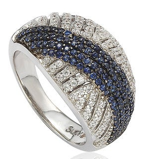 Suzy Levian Sterling Silver Created Blue Sapphire and White Cubic Zirconia Pave Ring