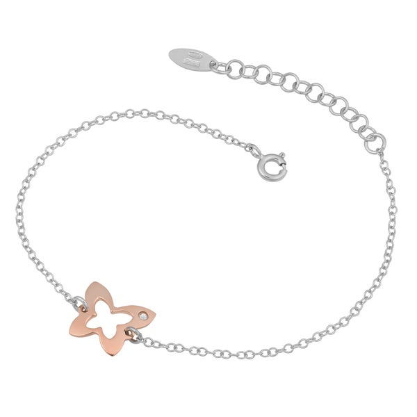 Argento Italia Two-tone Sterling Silver Stylish Butterfly Adjustable Bracelet (7.5 inches)
