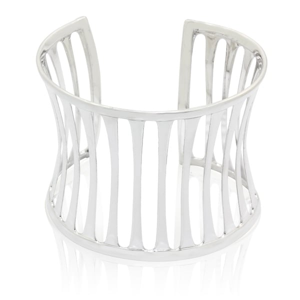 Sterling Silver Open Cut-out Concave Cuff Bangle